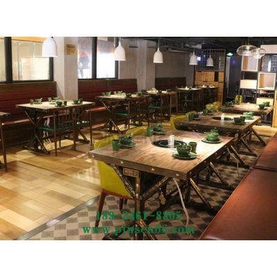 厂家复古火锅店桌椅定做 主题餐厅无烟电磁炉火锅桌定制