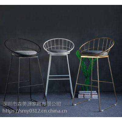 欧式铁艺酒吧椅个性创意吧台桌椅组合金属酒吧家用吧凳金色高脚凳