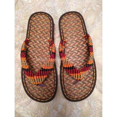 涂图手工坊 中国结线手工编织 彩条人字拖拖鞋凉拖平跟坡跟女 各色各码定制