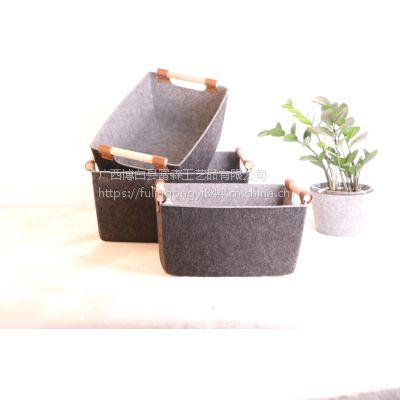 超坚硬的桌面方型加硬收纳篮家用毛毡长方置物筐大号整理杂物篮