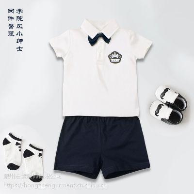 米希奇尔夏季新款婴童短袖套装纯棉男女小童薄款短裤裤欧美宝宝