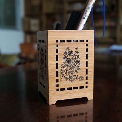 竹木工坊 供应竹笔筒定制价格实惠可印logo