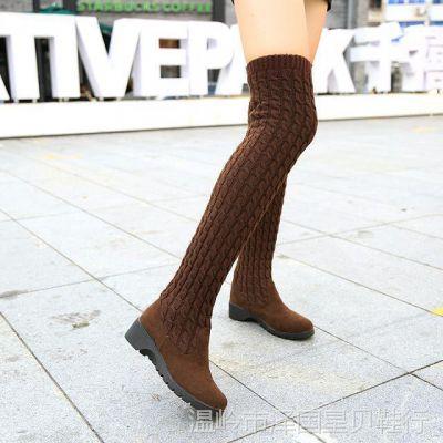2017秋冬新款女靴针织毛线高筒平底过膝弹力马丁长靴多穿潮批代发