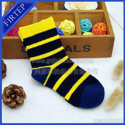 供应兒童加厚羊毛襪 寶寶冬天超厚袜子 条纹羊仔毛儿童袜 羊毛袜加工厂
