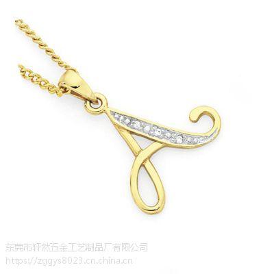 字母镶钻项链 来图定制各式短款心形吊坠锁骨链女式短款项链批发 钛钢