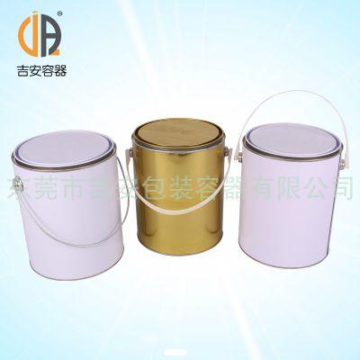 供应铁罐 4L 涂白、涂金圆罐 4kg马口铁桶