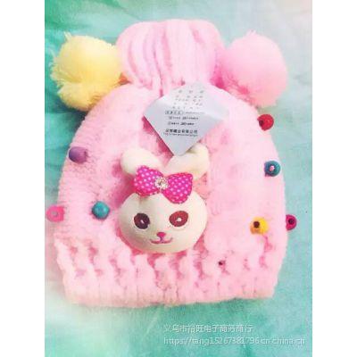 义乌儿童针织帽子 冬季新款手工宝宝毛线帽子单色可爱厂家批发