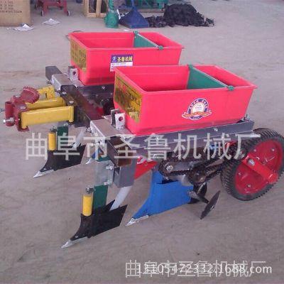 手扶拖拉机牵引式玉米播种机 圣鲁双行玉米施肥播种机
