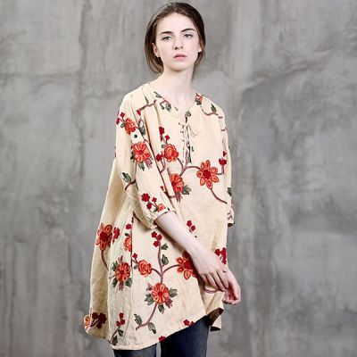 杰然不同2017新款针织a字裙子中长款T恤裙宽松刺绣印花连衣裙2263
