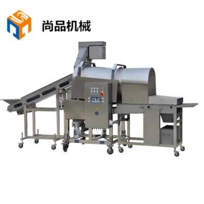 上海鱼米花滚筒上粉机 速冻调理品滚动裹粉机 鸡米花油炸机