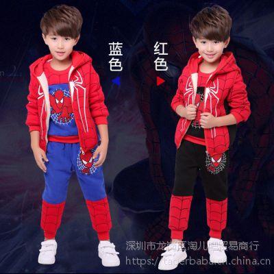 2017新款蜘蛛侠三件套加绒加厚卫衣童套装儿童套装奥特曼衣服冬