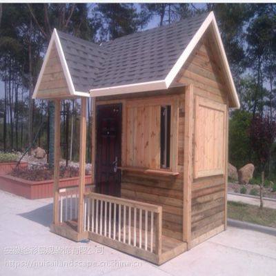 低价定制移动售货亭木屋碳化防腐木岗亭活动房实木质保安亭设备房活动木房子