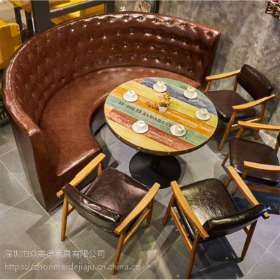 定制餐厅半圆卡座沙发,简约弧形卡座,皮革防火板沙发上门量尺款式新颖