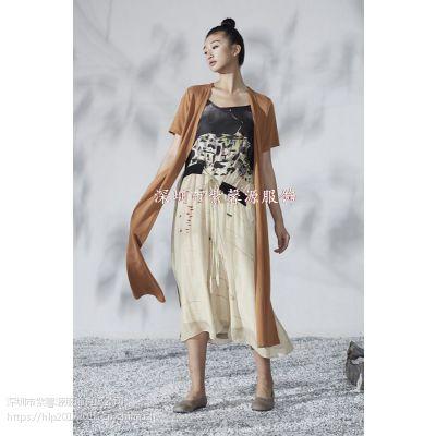 一线真丝连衣裙一手货女装 深圳必然简约纯色品牌折扣女装精品货源供应