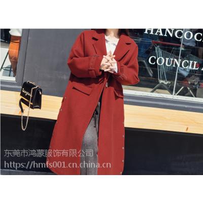 呢子大衣秋冬新款韩版中长款毛呢外套女长袖雪纺连衣裙呢子大衣两件套