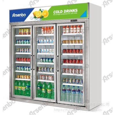 雅绅宝新款三门展示柜HB17L3F 无霜风冷保鲜柜 饮料冷藏展示柜
