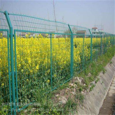 亚荣星圈养双边丝围栏 绿色铁丝防护网 双边丝护栏高清大图