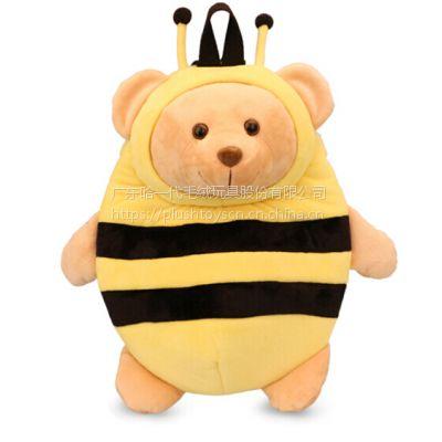 保温熊毛绒玩具儿童背包公仔布娃娃1-5岁旅行书包短毛绒
