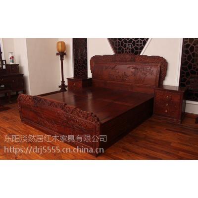 古典实木双人大床,印尼黑酸枝卧房系列,浙江黑酸枝品牌,兰州红木家具市场,无锡红酸枝红木