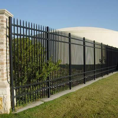 三沙小区锌钢护栏供应商 铁艺栅栏三横杆隔离围栏