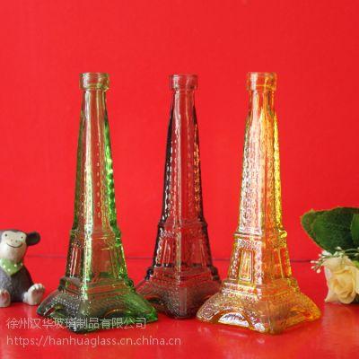 彩色玻璃铁塔瓶,许愿玻璃瓶生产商,工艺玻璃瓶订制
