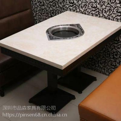 简约现代厂家直销大理石火锅餐厅定制火锅店家具餐桌椅白色大理火锅桌组合