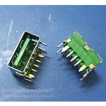 大电流USB 5A母座快充OPPO 5P/5针闪充四脚直边 PCB-创粤