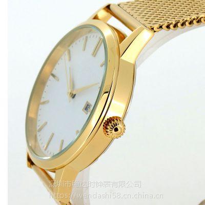 湖南手表定制 欧美风格不锈钢石英手表 稳达时品牌代工