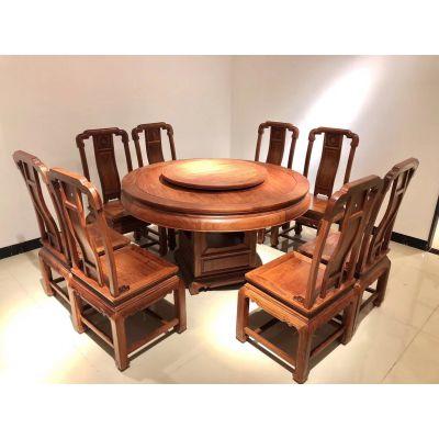 刺猬紫檀花梨木1.38圆餐桌配8张椅1套多少钱