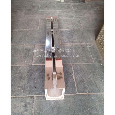 深圳中创华建厂家直销 U250线性排水沟缝隙式成品树脂混凝土排水槽 配中缝式不锈钢