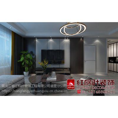 东方新天地现代黑白灰风格经典案例-哈尔滨红枫叶装饰公司