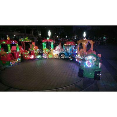 广场摆摊电瓶彩灯轨道火车 小孩电动小火车有几座的 可坐五个孩子的小火车图片
