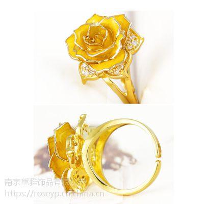 厂家直销黛雅新品镀金玫瑰花戒指天然玫瑰材质手工制作创意礼物
