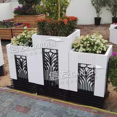 洛洛可花箱 隔离带隔离栏护栏组合花箱 pvc