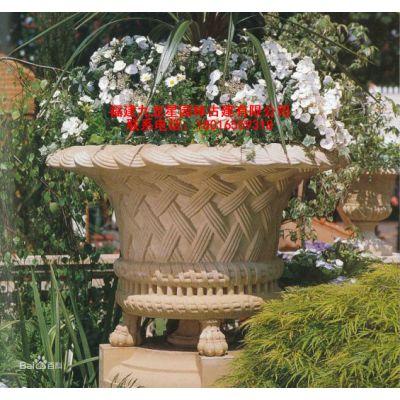 园林景观雕塑 公园广场花园石雕花盆花钵摆件 大理石花盆厂家定制