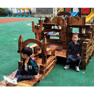 厂家直销幼儿园大型碳化积木构建区积木儿童早教玩具