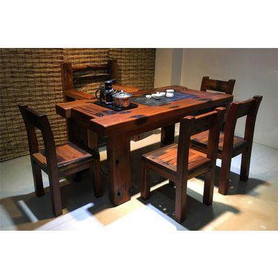 老船木茶几简约实木大板茶桌椅组合仿古老船木茶桌椅