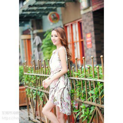 厂家直销服装批发郑州天涯路夏季服装批发市场女装碎花连衣裙高雅气质漂亮