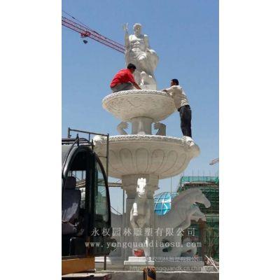 白色大理石石材喷泉制作 汉白玉石材欧式人物喷泉订做价格