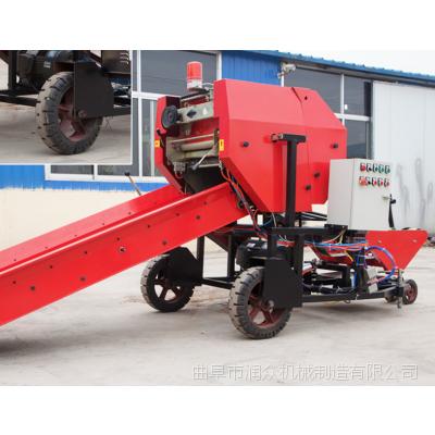 大型柴电两用青草饲料包膜机 全自动秸秆压捆机生产