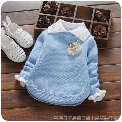 秋季新款小女童装 婴幼童宝宝韩版针织毛衣打底衫批发 一件代发