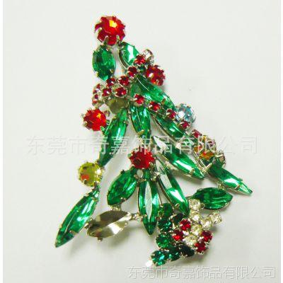 圣诞节胸花 厂家直销 圣诞树镶钻胸针 欧洲饰品批发