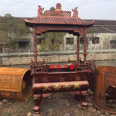供应长方形铸铁四龙柱香炉 优惠的佛道教香炉厂家