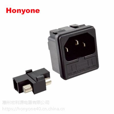 Honyone工厂直销S-03F卡式固定式二合一带单保险夹AC品字插座