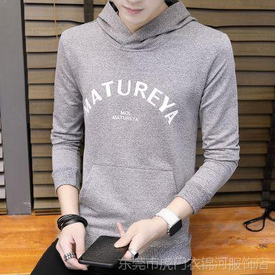 2018男士秋季新款印花supreme卫衣男式青年韩版修身长袖T恤打底衫