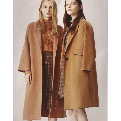 杭州18冬新品新款欧美女装宽松阔版大码澳毛人字纹双面呢大衣羊绒阿尔巴卡