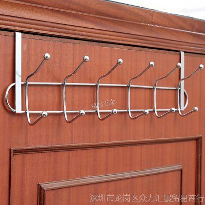 不锈钢门后挂钩无痕免钉衣帽挂架卧室门背式挂钩门上挂衣架置物架