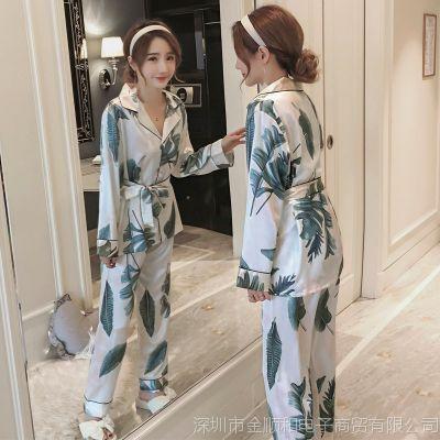 JSH真丝睡衣女春秋冰丝绸两件套装2018新款潮韩版春季时尚丝质家