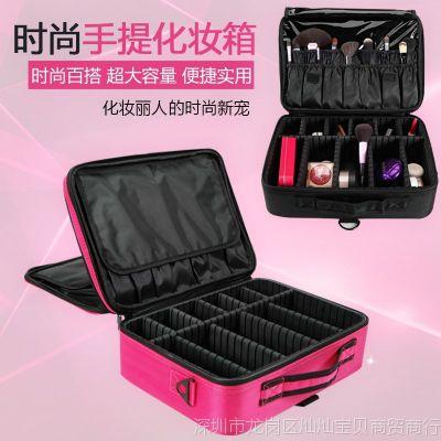 新品化妆包大容量便携手提专业美甲纹绣半工具收纳化妆箱大号