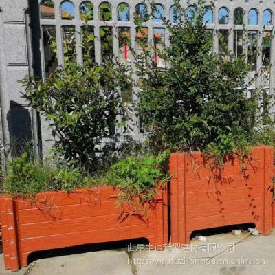 厂家批量生产水泥仿木花箱 水泥仿木花桶 可拆卸组合混凝土景观花箱